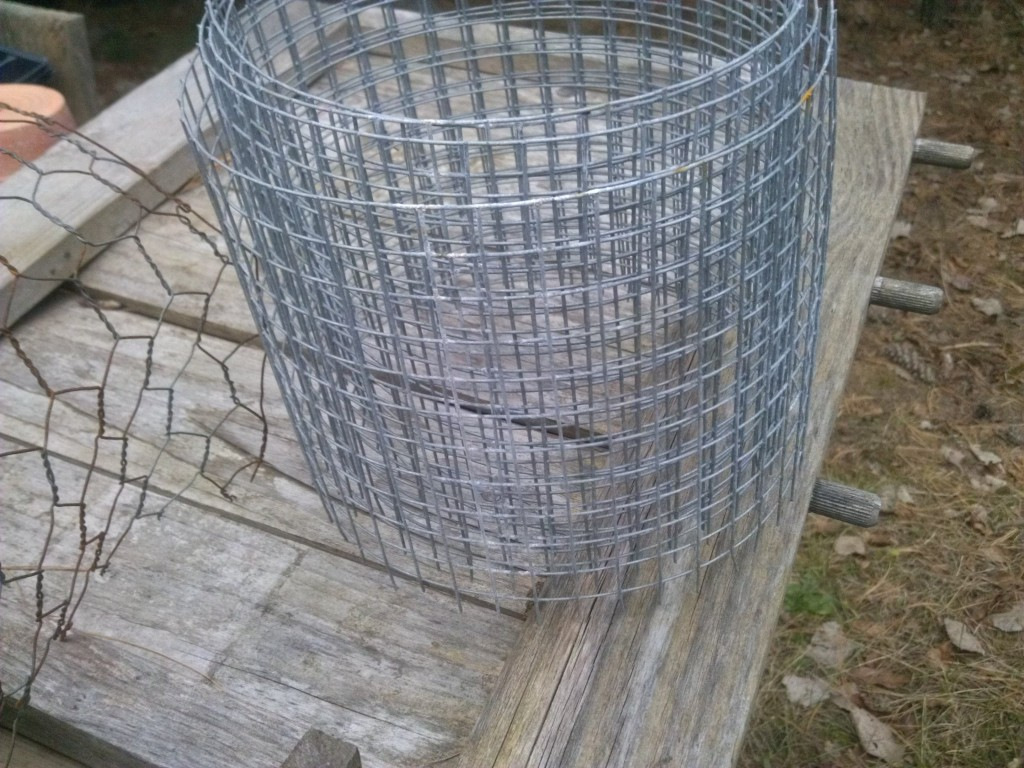 Chicken wire on left, hardware cloth on right.