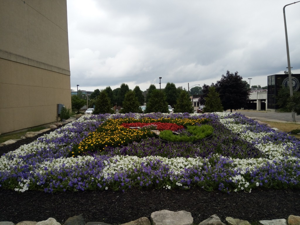 This space next to a building is transformed by this quilt garden.
